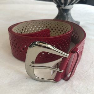 NWT Nine West perforated red patent leather